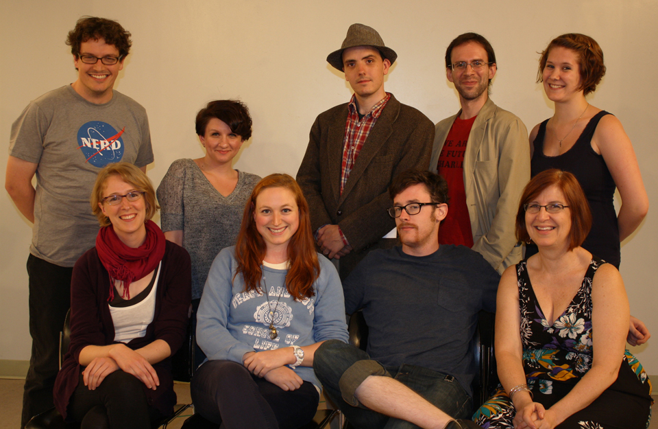 Uncharted Zones cast & crew (sans playwright) at our first full readthrough