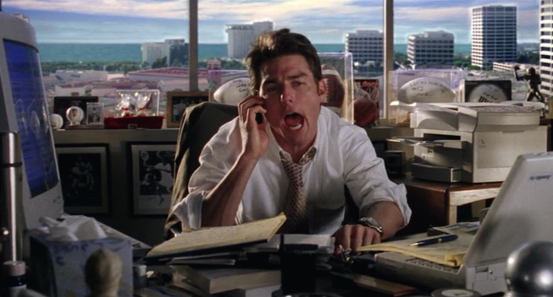 Tom Cruise as the title character of the 1996 motion picture, Jerry Maguire.