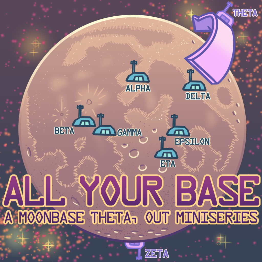 Moonbase Theta, Out - All Your Base - the image is a cartoon map of the Moon with little bunker icons indicating the placement of each base - Alpha, Beta, Gamma, Delta, Epislon, and Eta on the front; Zeta is shown at the South Pole, and there's an arrow pointing around to the backside for Theta.